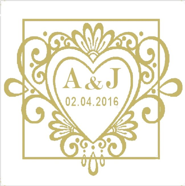 white Wedding Invite Labels Personalised heart stickers for favours x100